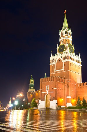 Night and rainy view of Spasskaya Tower on the eastern wall of the Moscow Kremlin. Red Square, Moscow, Russia photo