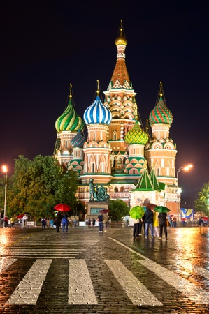Night and rainy view of Cathedral of the Protection of Most Holy Theotokos on the Moat, Temple of Vasily the Blessed. Red Square, Moscow, Russia
