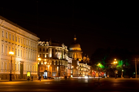 Night view of Nevsky Prospect. Sight from Palace Square. St. Petersburg, Russia. Stock Photo