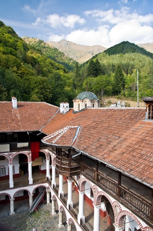 Courtyard of Monastery of Saint Ivan of Rila, Bulgaria photo