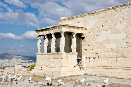 caryatids:   The Porch of the Caryatids. Acropolis of Atheens, Greece Stock Photo