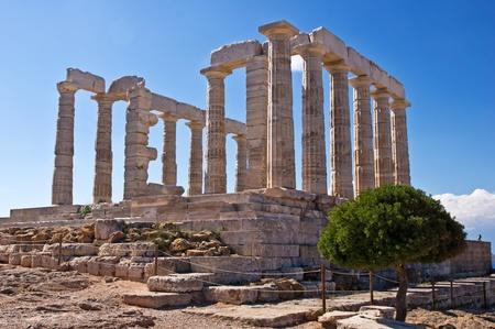 ポセイドン神殿、スニオン岬、ギリシャ 写真素材