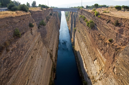 isthmus: The famous Corinth Canal between Ionian and Aegean seas in Greece Stock Photo