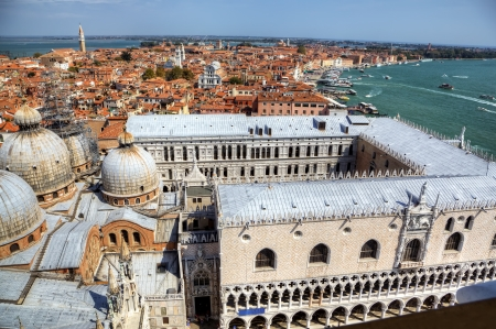 campanille: View to Doge s Palace from campanille at San Marco place in Venice, Italy