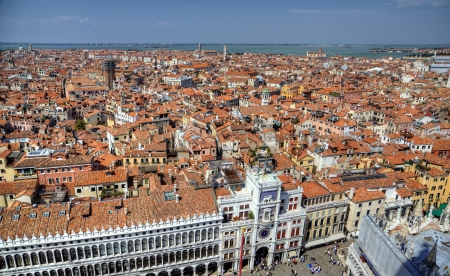 campanille: View to famous clocktower from campanille at San Marco place in Venice, Italy