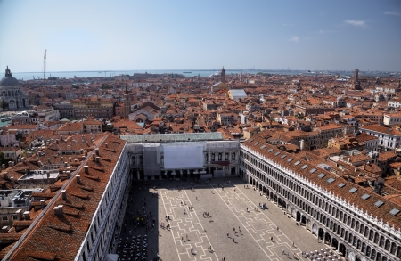 campanille: View to Procuraties and Piazza from campanille at San Marco place in Venice, Italy Stock Photo