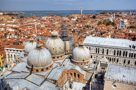campanille: View to San Marco Cathedral from campanille at San Marco place in Venice, Italy Stock Photo