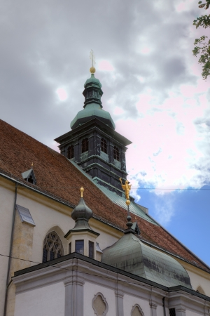 campanille: Campanille of Domkirche or Grazer Dom  Graz, Austria Stock Photo