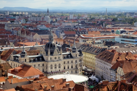 Panorama of the Graz with the city hall, Austria Stock Photo