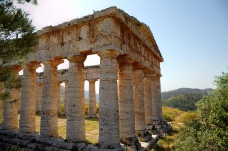 segesta: Doric Temple in Segesta, Sicily, Italy