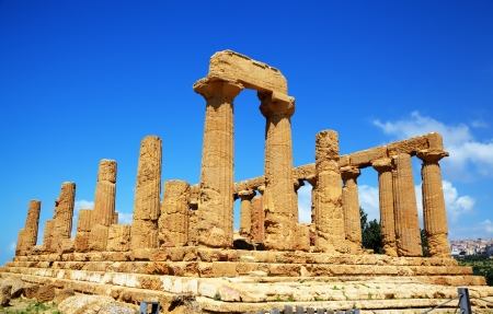 Colonnade of Hera  Juno  temple in Agrigento  Sicily, Italy photo