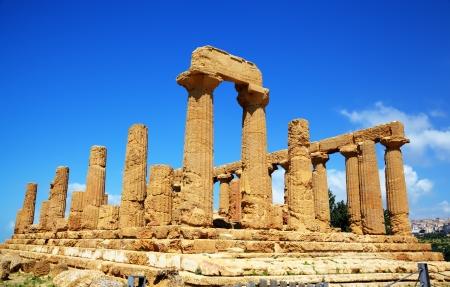 portico: Colonnade of Hera  Juno  temple in Agrigento  Sicily, Italy