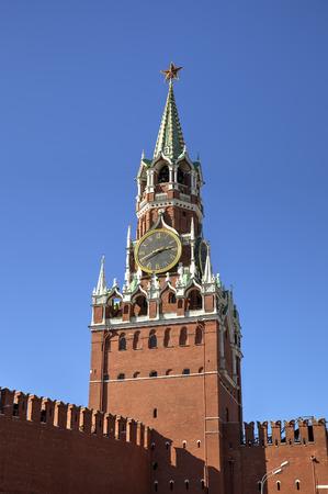 spasskaya: Spasskaya tower of Moscow Kremlin  Red square, Moscow, Russia