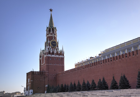 Spasskaya tower of Moscow Kremlin  Red square, Moscow, Russia photo