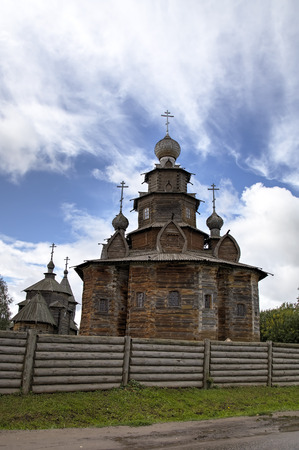 Church of the Resurrection (Voskresenskaya) and Holy Transfiguration (Preobrazenskaya) Church. Museum of wooden architecture. Suzdal, Golden Ring of Russia.