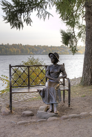 provincial tourist area: Sculptural composition on the bank of Volga Dachnitsa (Summer resident) (2010): Girl\s statue. Ples, Golden Ring of Russia Editorial