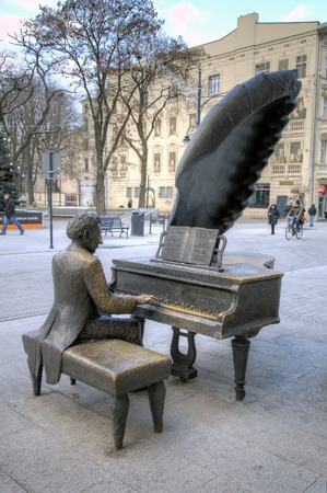 arthur: Monument to Polish pianist Arthur Rubinstein. Lodz, Poland Editorial