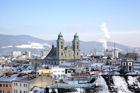 linz: Cityscape of Linz from Linzer Schloss. Linz, Austria