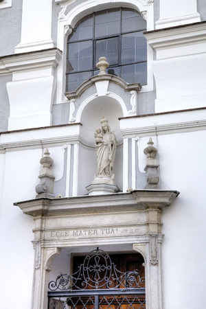 linz: Statue of Virgin Mary. Decoration element of house in old city. Linz, Austria