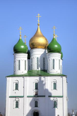 cupolas: Uspenskiy Cathedral in Kolomna Kremlin Russia