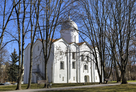 forerunner: Church of St. John the Forerunner on Opoki. Veliky Novgorod Russia Stock Photo