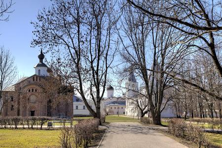 veliky: Yaroslav Courtyard and The Former Marketplace. Veliky Novgorod Russia Stock Photo