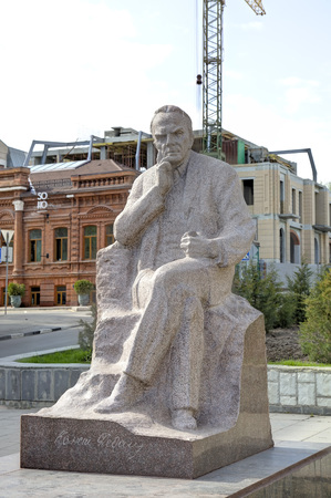 konstantin: Monument to Konstantin Fedin on Fedin Square. Saratov, Russia Editorial