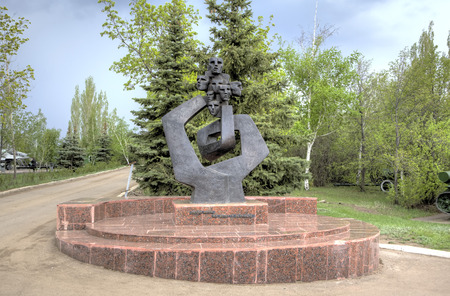 fascist: Monument to juvenile prisoners of fascist concentration camps. Victory park on Sokolova a grief. Saratov, Russia