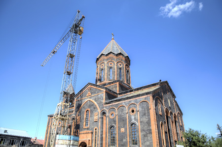 reconstructed: Church of the Holy Saviour being reconstructed after the 1988 earthquake. Gyumri, Armenia