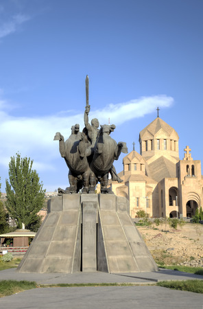 illuminator: Zoravar Adranic monument and Saint Gregory the Illuminator Cathedral. Yerevan, Armenia