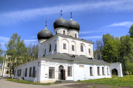 Cathedral of the Nativity of the Virgin. St. Anthony Monastery. Veliky Novgorod, Russia Stock Photo