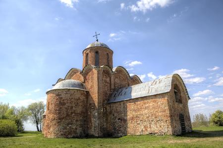 saviour: Church of the Transfiguration of Our Saviour on Kovalyovo. Veliky Novgorod, Russia