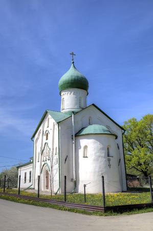 evangelist: Church of St. John the Evangelist on Vitka river. Veliky Novgorod, Russia Stock Photo
