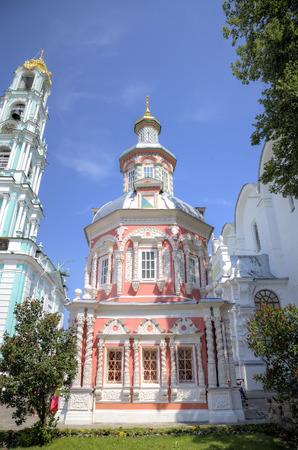stele: Nadkladeznaya chapel. Holy Trinity St. Sergius Lavra. Sergiev Posad, Russia. Stock Photo