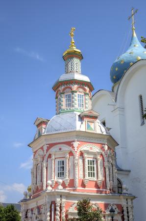 lavra: Nadkladeznaya chapel. Holy Trinity St. Sergius Lavra. Sergiev Posad, Russia. Stock Photo