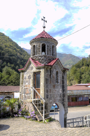 Church of St. George in the village of Zvara on the Adzharis-Tskali River in the mountainous Adzharia. Georgia. Stock Photo