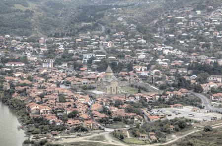 ムツヘタの都市の眺め。グルジア。