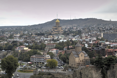 georgian: Panorama of the city from the fortress Narikala. Tbilisi. Georgia. Stock Photo