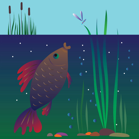 man fishing: Flat modern business web concept template for businessman investor seeking to catch goldfish. Man fishing in aquarium throw rod with coin bait. Creative people collection. Illustration