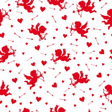 cliche: Vintage seamless pattern with Cupid for Valentines day Illustration