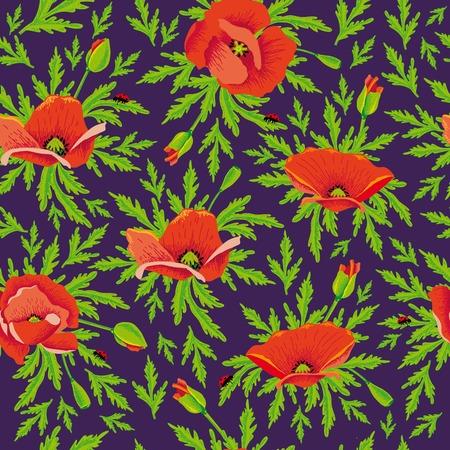, poppies maki maquis pattern ornament Illustration