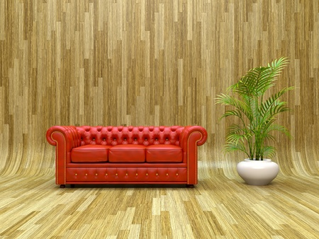 Red classic leather sofa on curved parquet  photo