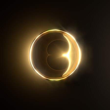 Golden fiery ring isolated on black background  photo