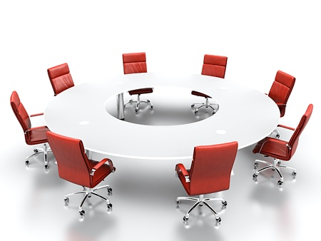 D Render Of Meeting Room With Projection Screen And Conference - Red conference table