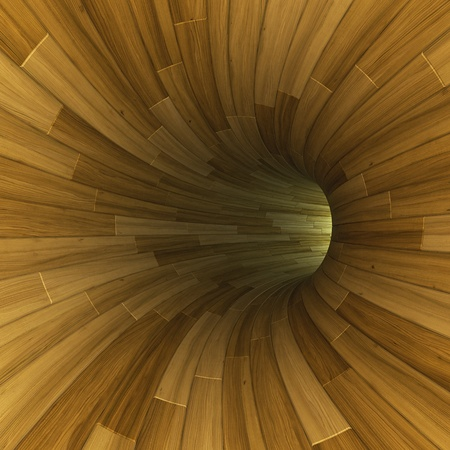 open hole: 3D render of wooden tunnel made of bent parquet