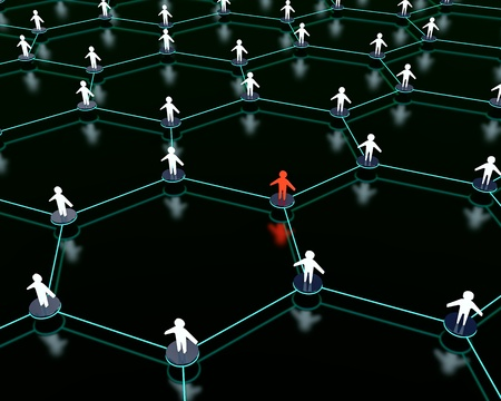 3d render of social network with one person standing out from the crowd  Stock Photo