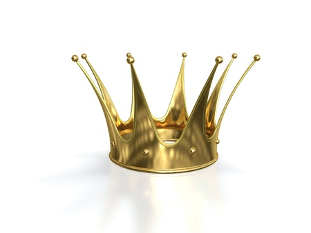 rubies: Golden crown isolated on white background.