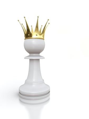 3D render of white pawn with golden crown isolated on white background.