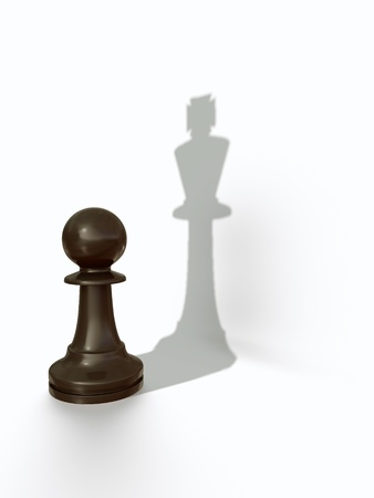 Black pawn with kings shadow/pawns pride Stock Photo - 13002768