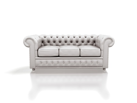chesterfield: White leather sofa isolated on white background.